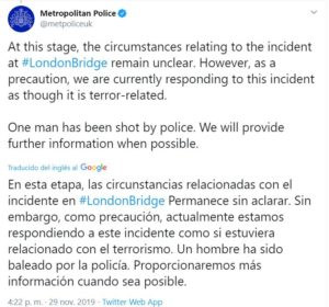 Twitter Oficial Policía Londres